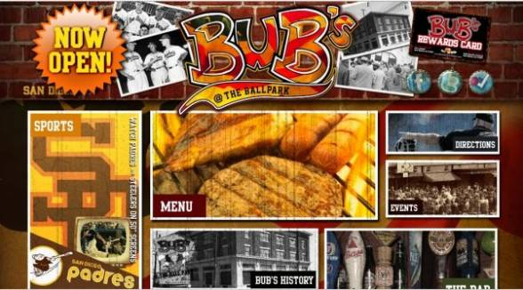 Bub's At The Ballpark Nightlife Web Design